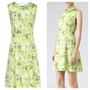 [Reiss] Silk Watercolor Floral A-Line Fluted Dress
